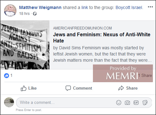 Incitement against Jews by U S  - based Neo-Nazi and white