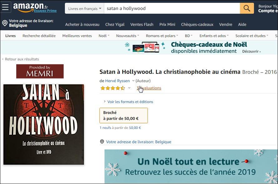 Satan à Hollywood avec une légende encourageant les ventes : «Un Noël tout en lecture».