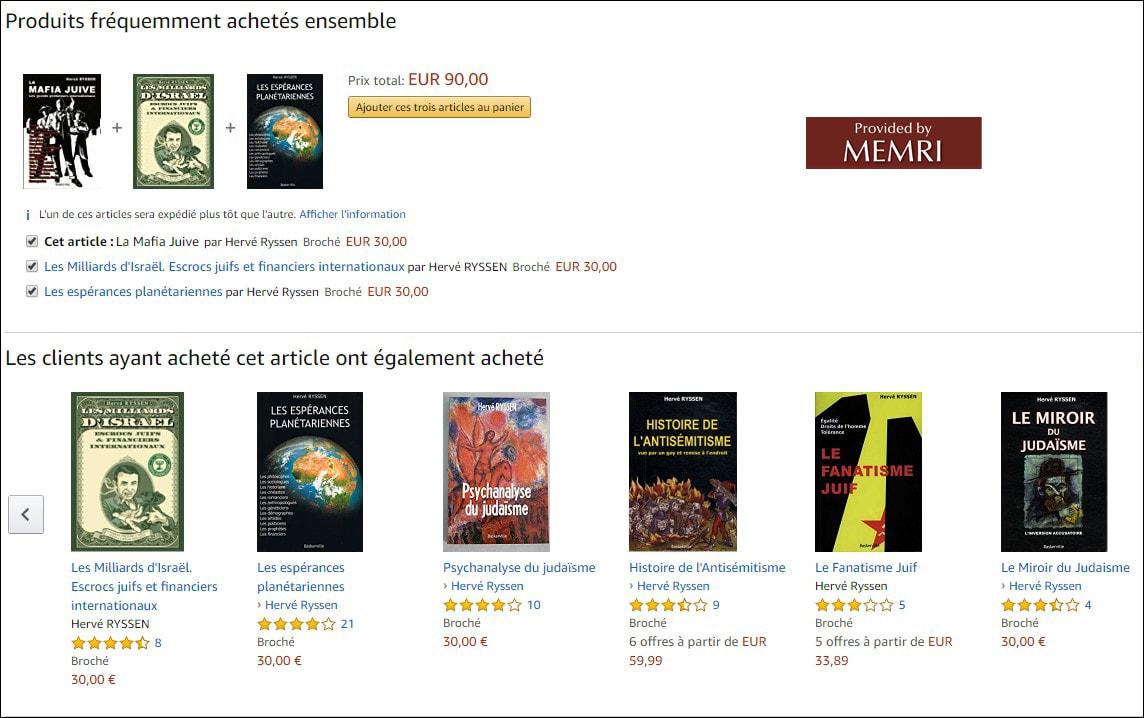 Suggestions d'achats d'ouvrages antisémites sur Amazon.