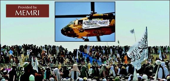 En un evento de celebración en Kandahar, los talibanes afganos vuelan un helicóptero con la bandera de los talibanes (diario Roznama Express, 2 de septiembre, 2021).