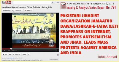 Pakistani Jihadist Organization Jamaatud Dawa/Lashkar-e-Taiba (LeT) Reappears on Internet, Promotes Antisemitism and Jihad, Leads Mass Protests Against America and India