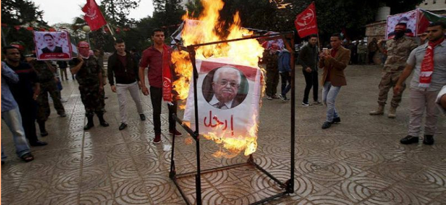 Picture Of PA President 'Abbas Burned At PFLP Protest In Gaza; Severe Tension Between 'Abbas, PFLP