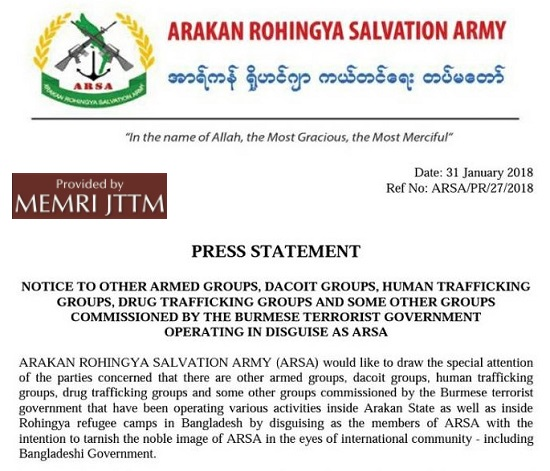 Rohingya Militant Group Arakan Rohingya Salvation Army (ARSA) Warns Criminal Organizations That Are 'Masquerading As ARSA' To Refrain From Doing So
