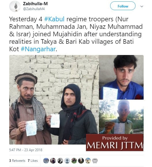 Taliban Spokesman Posts Photos On Twitter Of Afghan Securitymen Who Joined Taliban