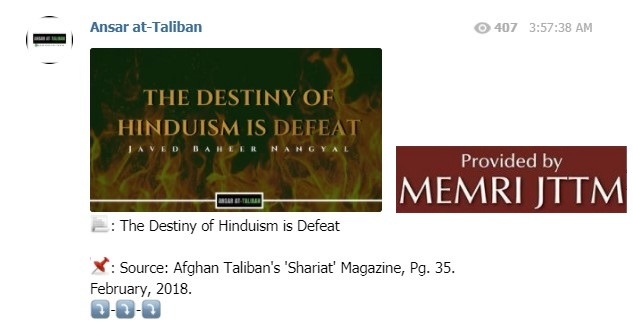 Article From Taliban Magazine Shared On Telegram: 'The Destiny Of Hinduism Is Defeat'