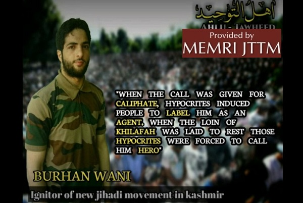 Jihadi Poem Shared On Telegram Pays Tribute To Slain Kashmiri Jihadi Burhan Wani