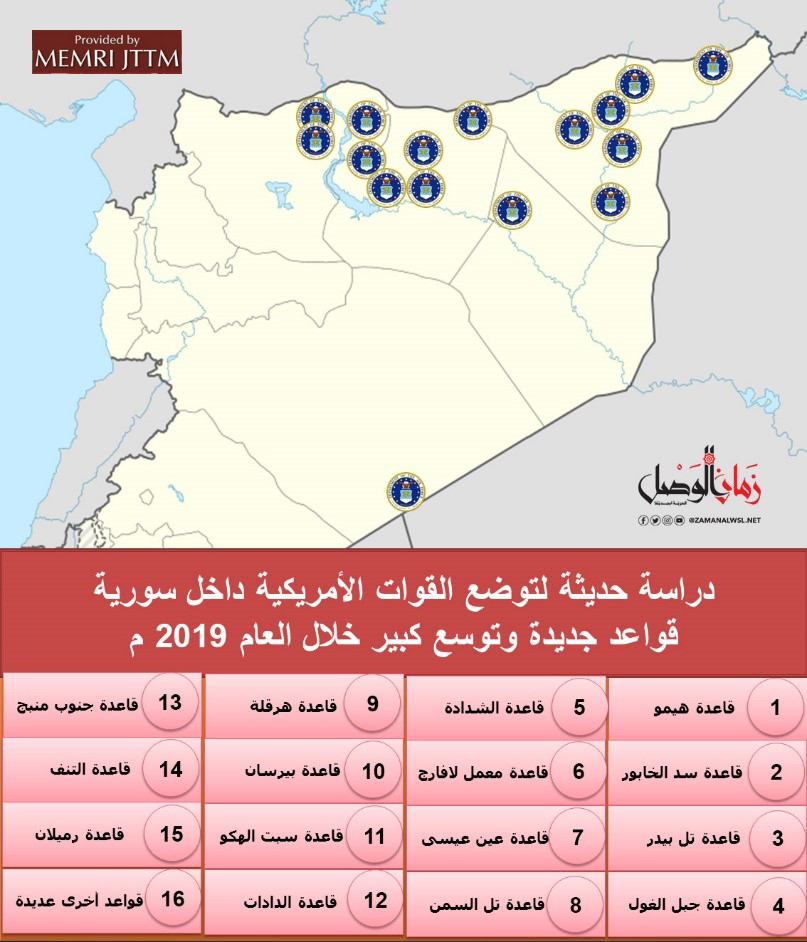 Syrian Opposition Website Provides Details Of Locations Of U.S. Bases In Northern Syria