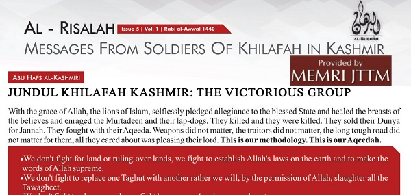 ISIS In Kashmir Releases Issue Five Of Al-Risala, Unveils 10-Point Methodology
