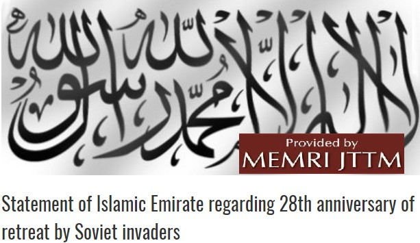Taliban Releases Statement Marking 28th Anniversary Of Soviet Retreat From Afghanistan