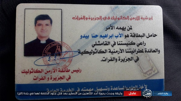 ISIS Claims Responsibility For Killing Two 'Unbeliever Christian' Priests In Deir Al-Zour, Syria, Publishes ID Of One Priest
