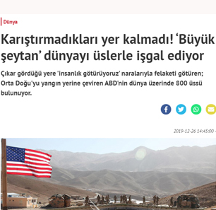 "Turkish Pro-Government Daily Yeni Akit: 'The ""Great Satan"" [The U.S.] Is Occupying The World With Bases'"