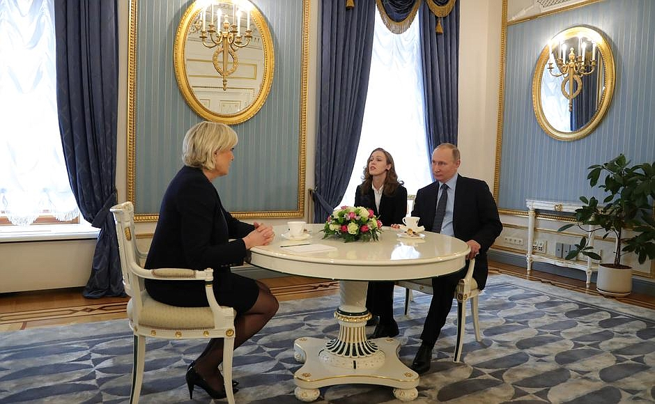 Description: Meeting with Marine Le Pen, leader of the French National Front Party.