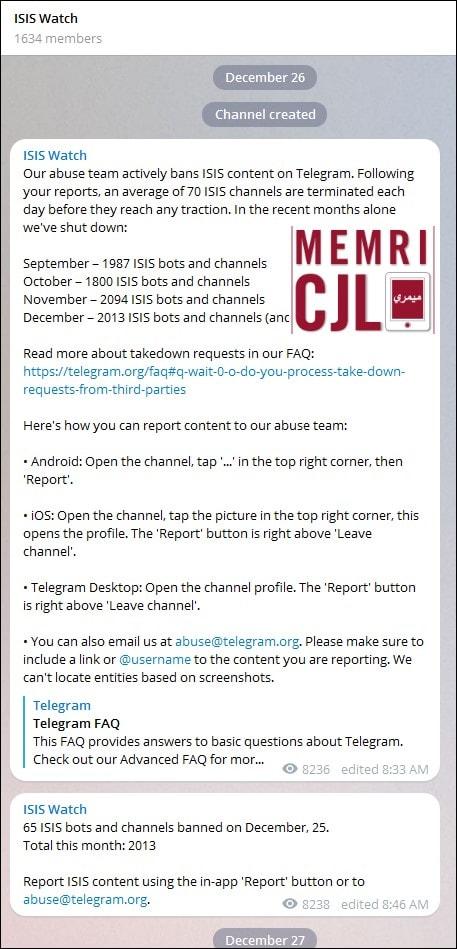 One Day After MEMRI Exposes Telegram As Jihadis' 'App Of