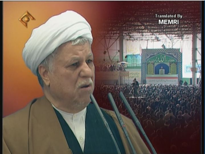 Rafsanjani in a Tehran University Friday Sermon: The American Neo-Conservatives Are Abusing the Spirit of Christ,Whose Real Essence Is in Islam