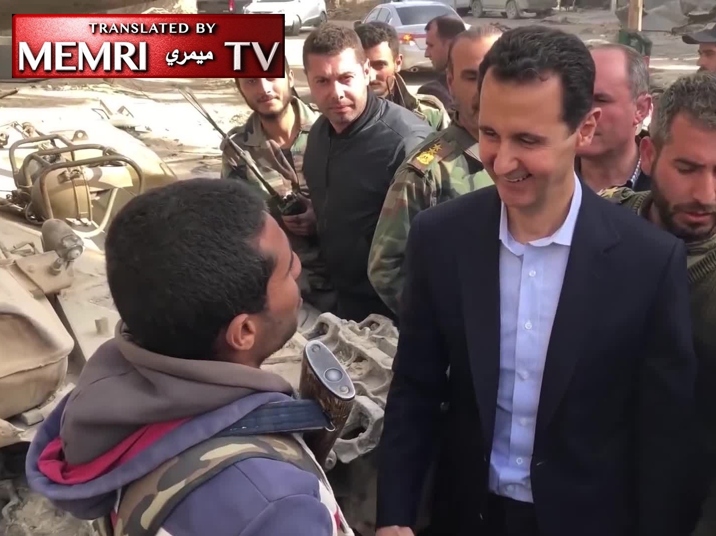 Syrian President Bashar Al-Assad Visiting Soldiers in East Ghouta: Every Terrorist You Kill Changes the World Order