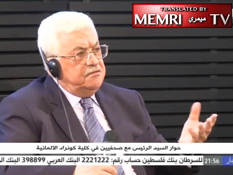 "Palestinian President Abbas in Berlin: Sunni-Shiite, Christian-Muslim Conflicts Are All Fabricated; ""Arab Spring"" Imported into the Middle East"