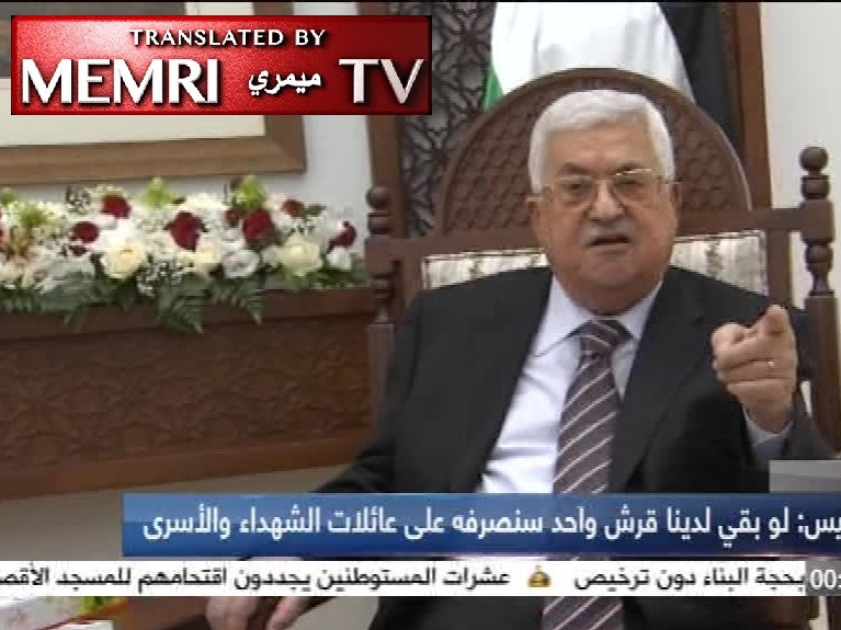 Palestinian President Mahmoud Abbas Vows to Continue Funding Families of