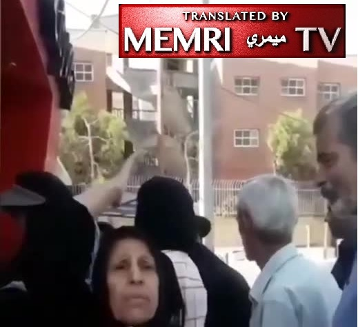 Woman at Entrance to Hospital in Shiraz, Iran: We Are Hungry, Need Medicine; To Hell with Our Leaders; Khamenei's Time Is up, He Should Go Meet His Maker