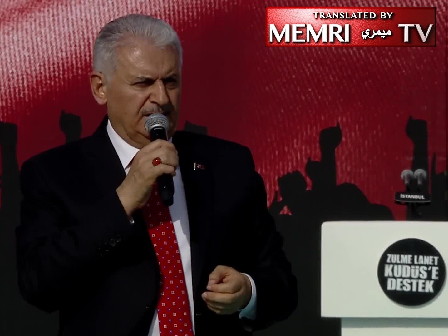 Erdoğan and Other Senior Turkish Politicians in Pro-Gaza Rally; PM Yıldırım: The State of Israel Emulates Hitler and Mussolini