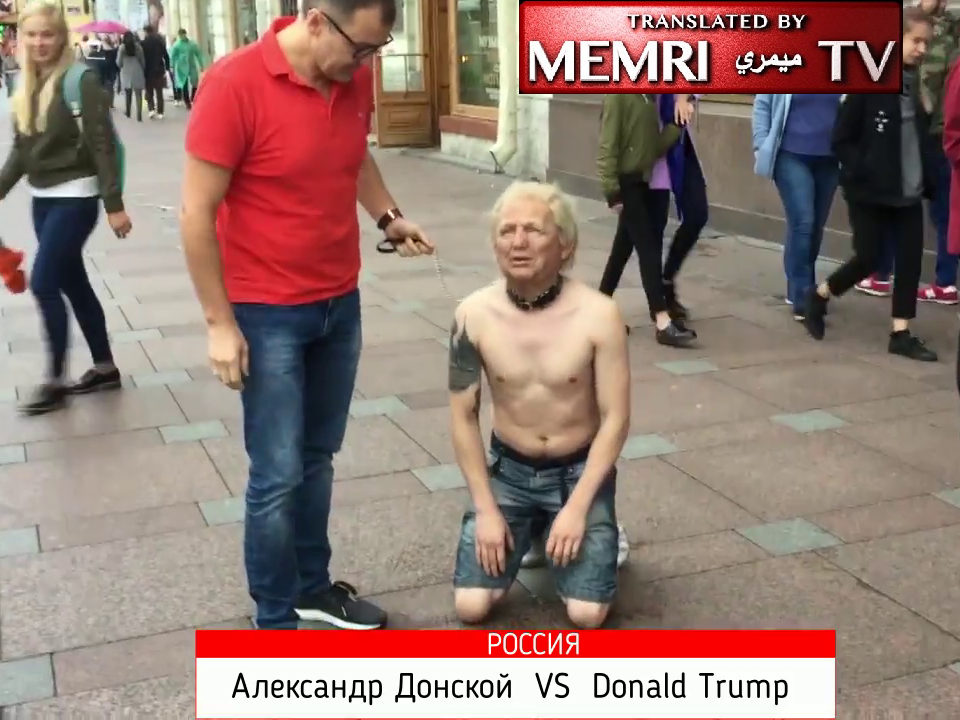 """Donald Trump"" Paraded on Dog Leash in Streets of St. Petersburg"