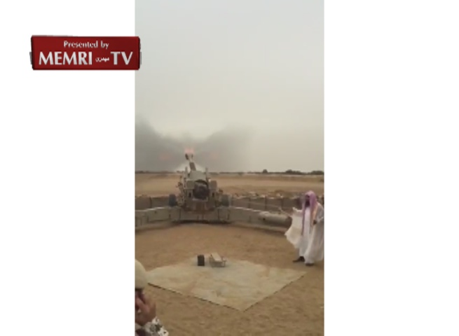 Sheikh Salah Al-Budair Imam of the Grand Mosque in Medina Fires Cannon at Houthis While Visiting Saudi Troops
