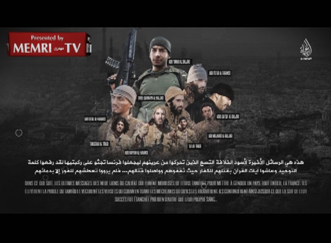 "ISIS Video Features Message from Nine Paris Attackers: ""You Will Taste Terror in Your Countries"" - Warning: Graphic Images"