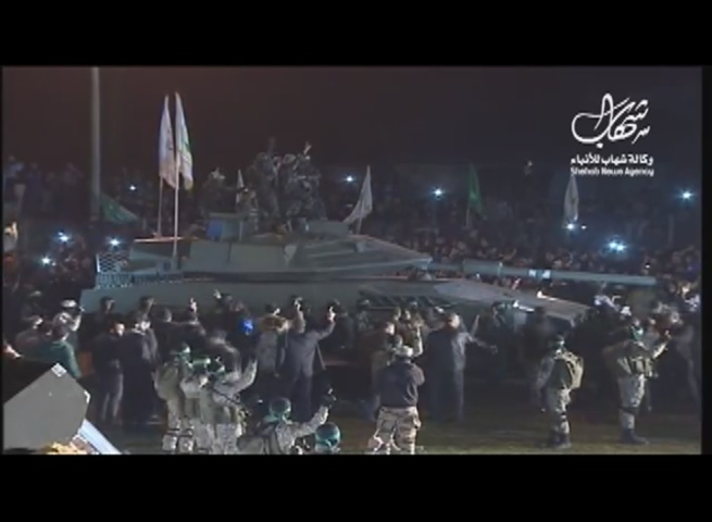 "Hamas Parades ""Locally-Made Tank"" in a Gaza Commemoration of Seven Members Killed Digging a Tunnel"