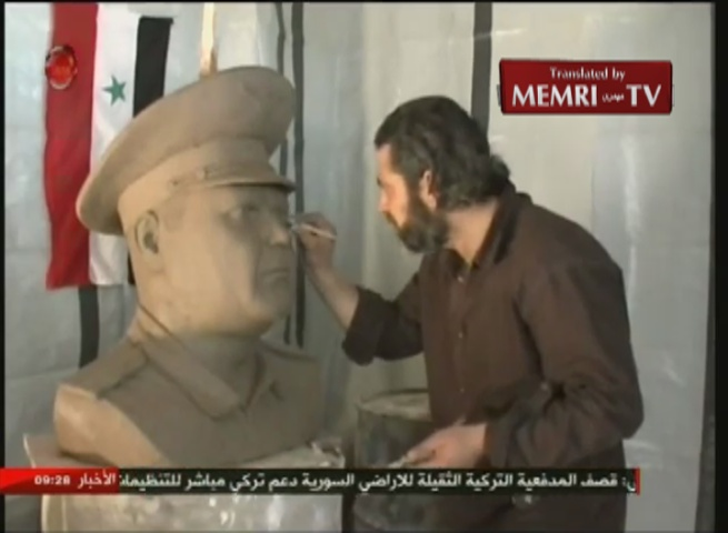 Syrian Sculptor Iyad Bilal Creates Bust of Russian Pilot of Plane Downed by Turkey