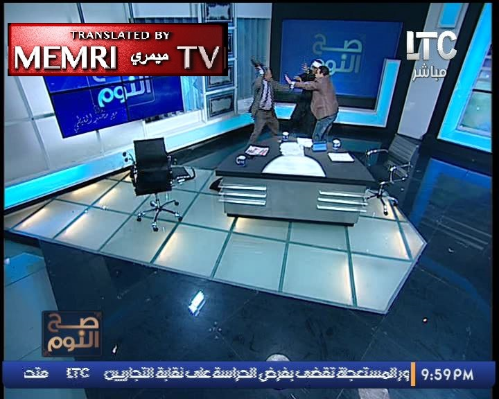 "Shoes and Chairs Go Flying in Egyptian TV Studio When Debate Turns into ""Freestyle Wrestling"""
