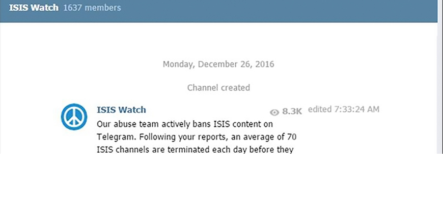 One Day After MEMRI Exposes Telegram As Jihadis' 'App Of Choice' – In 'Washington Post' On December 24 – Telegram Creates ISIS Watch Channel Alleging It Is Removing ISIS Content