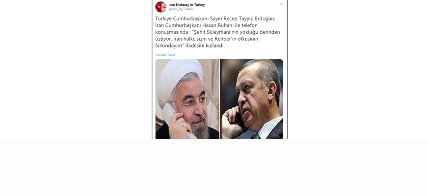 Iranian Government Outlets: Turkish President Erdoğan Offered Condolences To Iranian President Rohani Over Killing Of 'Martyr Soleimani'