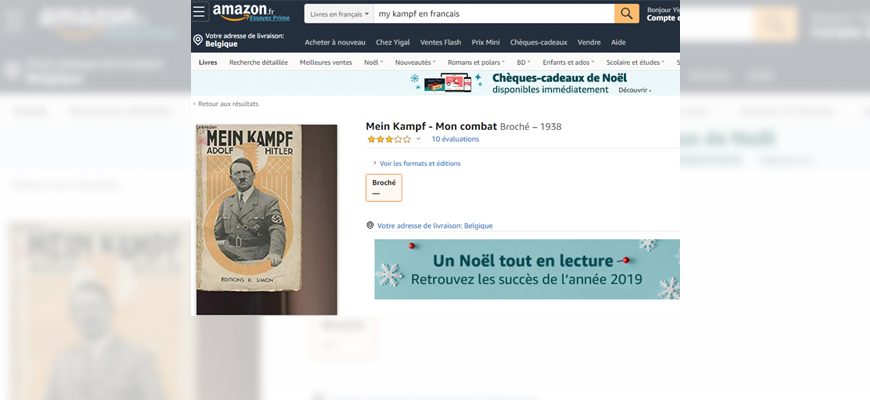 Amazon Sells And Promotes Antisemitic Literature in French, In Direct Violation Of French Hate Speech Laws