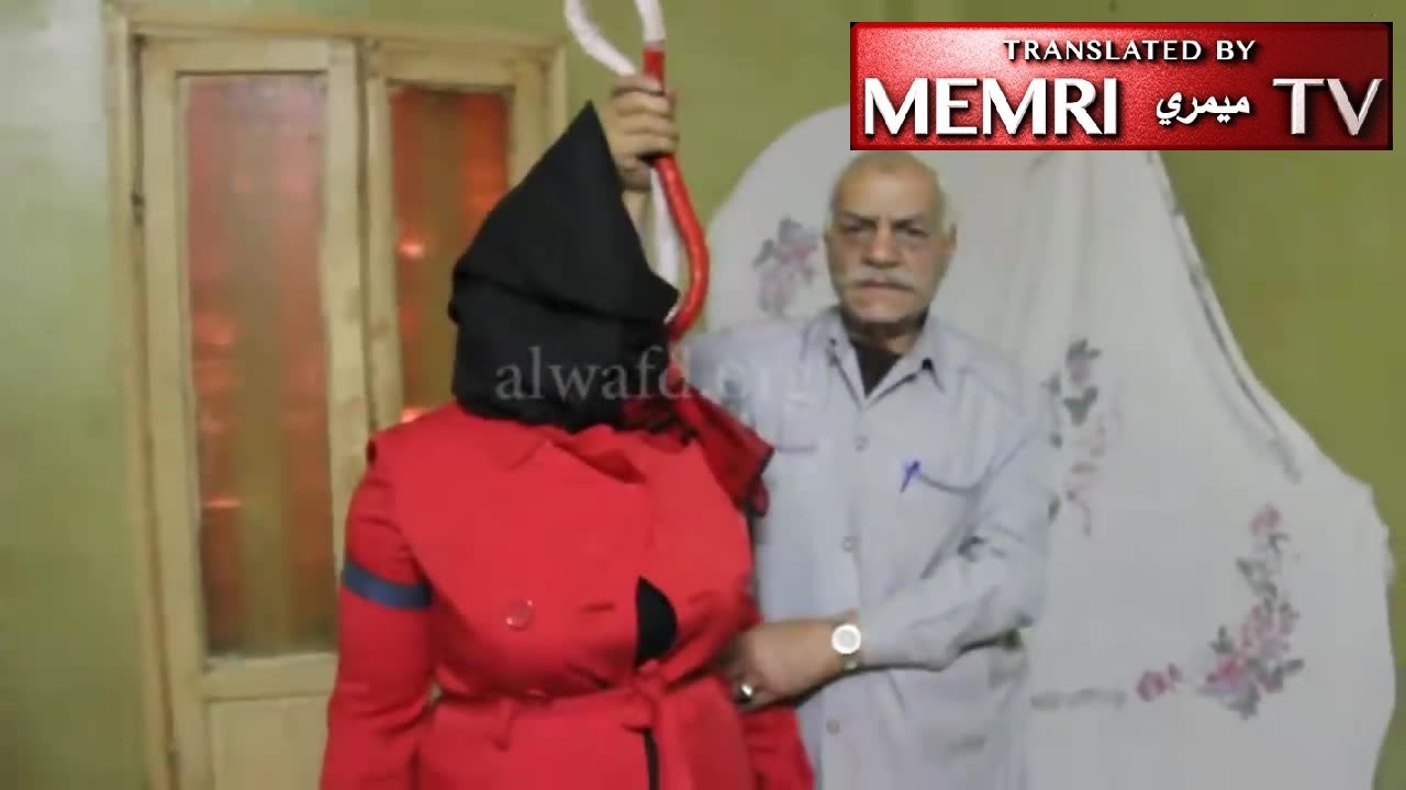 "Egyptian Executioner Hussein ""Ashmawi"" Qarni Demonstrates Hanging on Journalist Samia Farouk (Archival)"