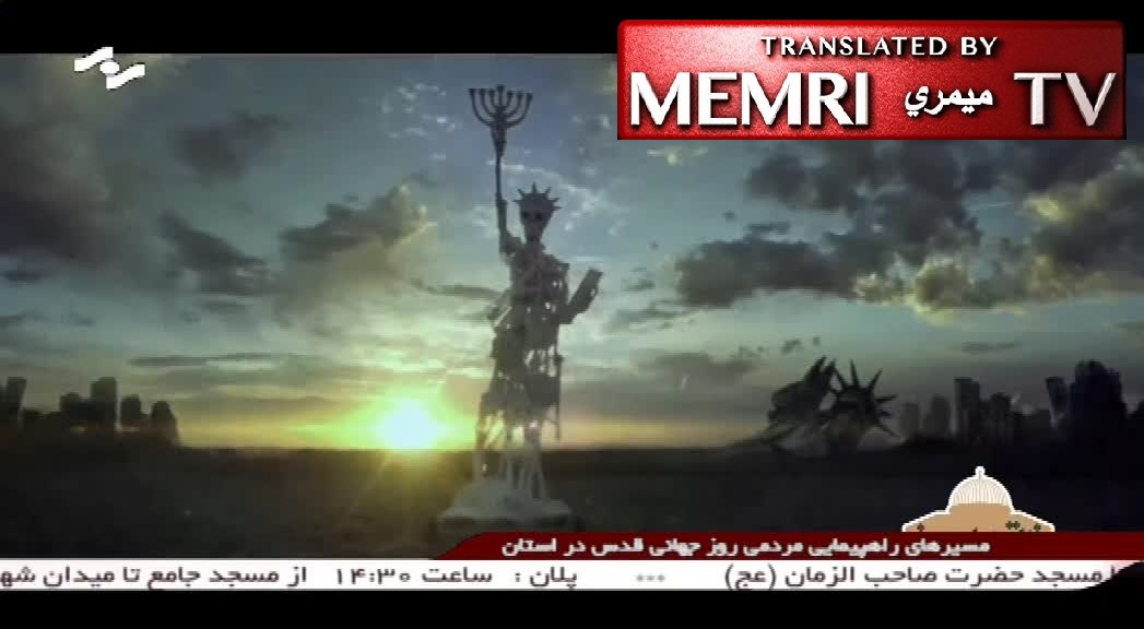 "Iranian Music Video Titled ""Death = America"" Depicts Lady Liberty as Skeleton Holding a Menorah, Lyrics Say: Death Is Too Small a Punishment for America"