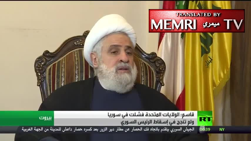 Hizbullah Deputy Leader Naim Qassem Defends Deal with ISIS, Criticizes the U.S. for Bombing ISIS Convoy