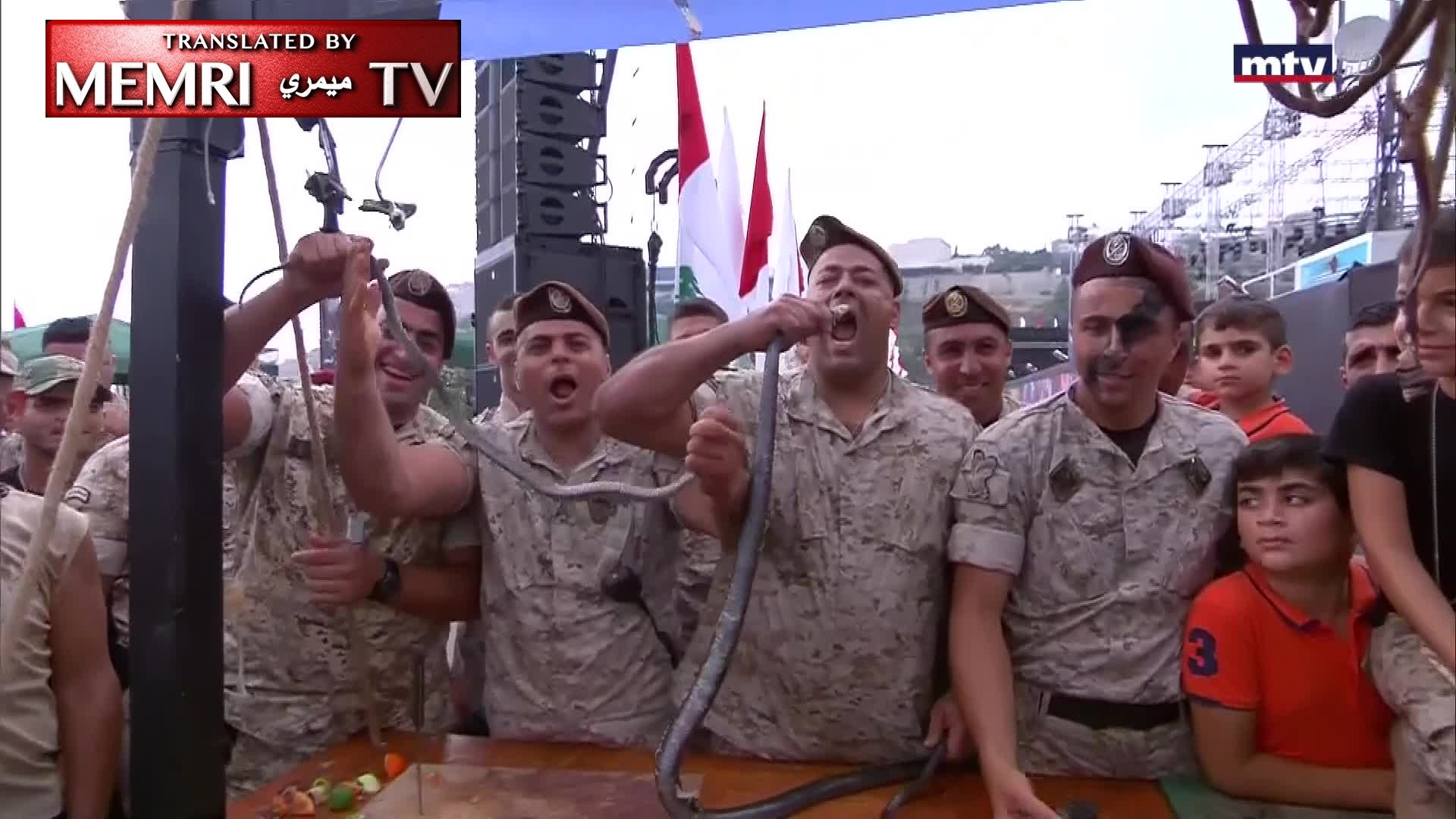 "Lebanese Army Holds ""Snake BBQ,"" Soldiers Say: We Will Cut off the Heads of Our Enemies like We Cut off These Snakes' Heads (Warning: Graphic)"