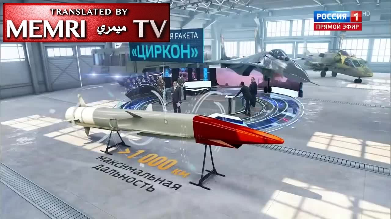 "Russian TV Anchor Popov Presents Russian Hypersonic Tsirkon Missile, Says: The U.S. Tries To Catch Up With Russia, But Can Only ""Envy Us In Silence"""